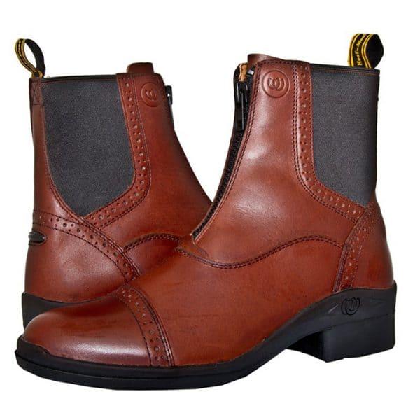 HW302 Paddock Front Zip Boot - Chocolate (Pair) (Square)